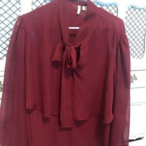 Maroon Blouse with Tie